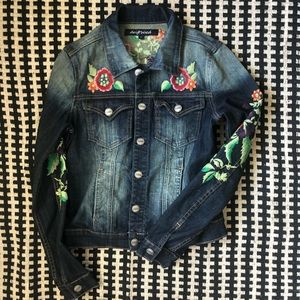 driftwood embroidered jean jacket